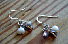 Day 11 in the 12 Days of Christmas Collection. Handcrafted Sterling Silver Freshwater Pearls Swarovski Crystal Czech Glass Dangle Earrings http://katiemdesigns.com/products/day-11-12-days-christmas-collection-handcrafted-sterling-silver