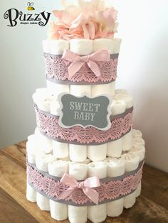 Pink and Gray Baby Girl Diaper Cake girl by BuzzyDiaperCakes