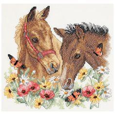 "Horse Friends Stamped Cross Stitch Kit-12""""X11"""""