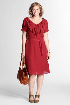 Women's Solid Ruffle Front Georgette Dress from Lands' End plus size