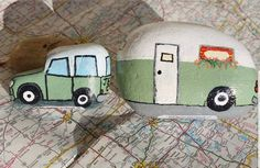 This Jeep and camper were some of my first rocks to paint and still a favorite! Painted by Laura Owen. This Jeep and camper were some of my first rocks to paint and still a favorite! Painted by Laura Owen. Rock Painting Patterns, Rock Painting Ideas Easy, Rock Painting Designs, Stone Crafts, Rock Crafts, Cute Crafts, Pebble Painting, Pebble Art, Stone Painting
