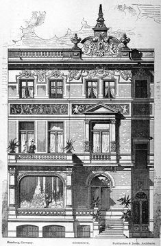 Design for a residence, Hamburg German Architecture, Neoclassical Architecture, Baroque Architecture, Classic Architecture, Commercial Architecture, Architecture Drawings, Historical Architecture, Architecture Details, Architectural Prints
