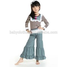 Source Howell long sleeves ruffle top and pant kids clothes fall 2017 on m.alibaba.com