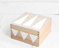 hand painted wooden box 17x17cm - white triangles. $39.00, via Etsy.