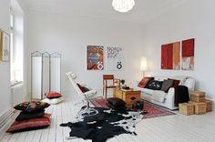 Chic Decoration Items to Decorate Modern White Living Room Scandinavian Style, Scandinavian Interior, Swedish Style, Swedish House, Swedish Design, Home Living Room, Living Spaces, Living Area, Swedish Interiors