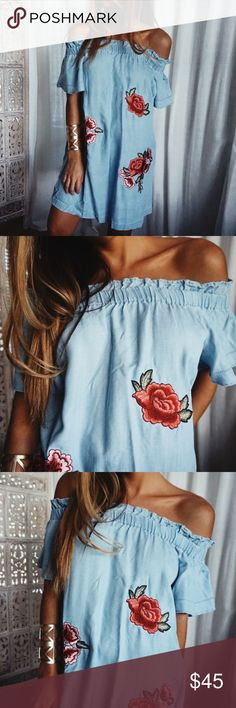 NWT • A.N.A//Denim Floral Dress •Color: Denim •Size: Petite X-Small •Style: Dress •Material: 100% Lyocell •Details: Off the shoulder cut featuring beautiful floral patches •Unused in great condition  •No imperfections/flaws a.n.a Dresses Mini