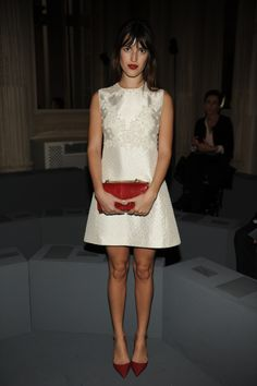 Jeanne Damas wearing a Valentino dress from the Spring 2014 collection to  the Valentino Fall Winter 14/15 Menswear Show on January 15th 2014 in Paris