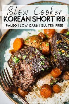 Slow Cooker Short Ribs, Rib Recipes, Paleo Recipes, Real Food Recipes, Diabetic Slow Cooker Recipes, Healthy Korean Recipes, Healthy Chinese, Dinner Recipes, Korean Food