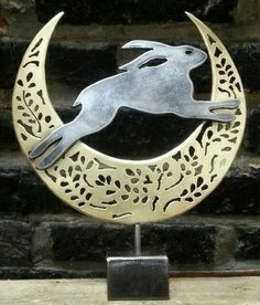 Leaping hare in brass crescent made by Holkham Forge, Norfolk Jack Rabbit, Rabbit Art, Rabbit Crafts, Bunny Art, Whimsical Art, Metal Art, Pet Birds, Sculpture Art, Metal Working