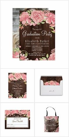 Rustic country blush peonies brown barn wood Floral rustic country chic wedding and other occasions invitations collection with pink blush peonies, shimmering lights and dark brown barn wood.