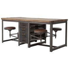 Wilkes Industrial Loft Reclaimed Pine Iron 4 Swivel Stools Desk Dining Table…