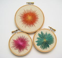 Modern embroidery. Try on an inexpensive canvas in Moroccan shapes.