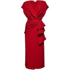 Magda Butrym Diablo Red Dress (€1.805) ❤ liked on Polyvore featuring dresses, red, tie dress, v neck dress, draped dress, red v neck dress and v-neck dresses