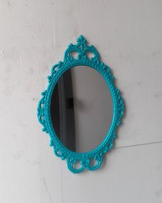 Turquoise Wall Mirror framed oval mirror in vintage metal frame - 17 x 12 inch