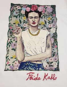 Frida Kahlo T shirt Fab Ceraolo Portrait Painted T-Shirt Women Graphic - Quortshirts