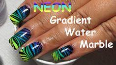 Neon Gradient Water Marble   Nail Art Tutorial