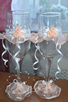 Мастер класс как украсить свадебные бокалы лентами