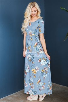 The Miranda in Dusty Blue! This modest maxi dress is literally perfection!