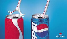 this photo advertises in the favor of Pepsi. as you can see the straw is reluctant to go in the cola but as for pepsi there was no problem at all. http://www.businessinsider.com/coca-cola-vs-pepsi-timeline-2013-1?op=1