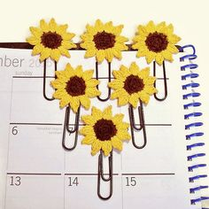 Crocheted Sunflower Paper Clips/Planner Clips - Made-to-Order  There are so many giving possibilities with these little clips! You can order