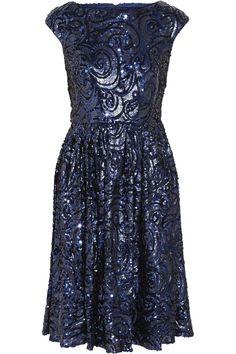 Badgley Mischka Sequined tulle dress