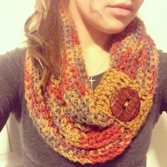 Crocheted infinity scarf with button cuff on Etsy, $40.00