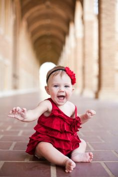 Baby in Arches on Texas Tech Campus - Ginger Ivey Photography