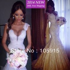 2014 Real Sample Custom Made Sexy With Cap Sleeves Lace Pearls Beads Mermaid Charming Wedding Dresses Bridal Gowns Satin VC-72 $268.00