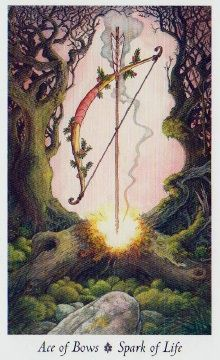 Posted by paulinebattell, DeeDaily Angel Oracle Card: Ace Of Bows, from the Wild Wood Tarot, by Mark Ryan and John Matthews, artwork by Will Worthi Wildwood Tarot, Spiritual Reality, Angel Cards, Oracle Cards, Archetypes, Deck Of Cards, Ancient Art, Occult, Magick