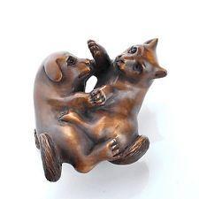 2'' Japanese Carving Sculpture Boxwood Wood Japanese Netsuke Dog Cat Fighting