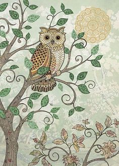 Decorative Owl by Jane Crowther for Bug Art greeting cards.