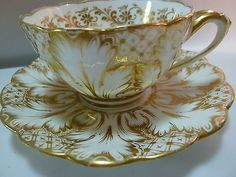 ANTIQUE RIDGWAY TEA CUP AND SAUCER GOLD FOLIAGE SPLIT LEAF HANDLE c1850-60