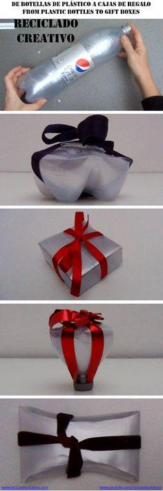 Cajas de regalo para Navidad realizadas reciclando botellas de plástico plateadas
