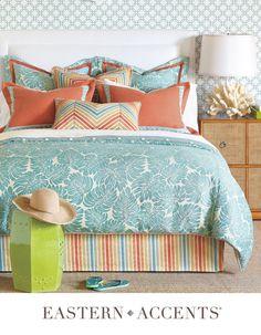 Eastern Accents Teal and Coral bedding set. Bed Sets, Comforter Sets, Duvet Cover Sizes, Duvet Covers, Capri, Coral Bedding, Tropical Bedding, Turquoise Bedding, Teal Comforter