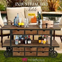 Add a new spin to your parties with our Portable Bar Table. Just place your drinks and snacks and roll it wherever the party is!! #homedecor #homedecortips