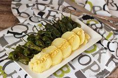 Patatas a la mostaza con pimientos del padrón