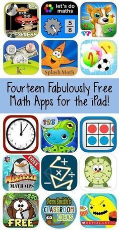 """Fourteen Fabulously Free Math Apps To Help In the Elementary School Classroom. Technology is becoming a great way to help our students with special learning needs make connections to core material. Ipads are a perfect way for these students to practice those math skills. Read more at: <a href=""""http://www.fernsmithsclassroomideas.com/2015/09/fourteen-fabulously-free-math-apps-with.html"""" rel=""""nofollow"""" target=""""_blank"""">www.fernsmithscla...</a>"""