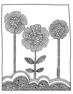Spring time - art for kids    Art therapy  *great activity to have students use lines and designs to create texture on flowers/leaves! Helps reinforce the elements of line, shape, texture