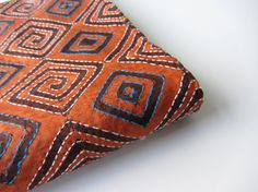 Orange blue embroidered blokprint tussar silk fabric nr 260 piece of 2,5 meters on Etsy, $65.00