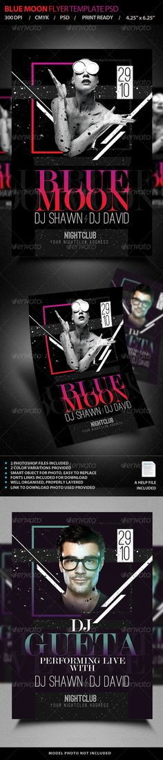 Blue Moon / Live DJ Flyer PSD Template • Only available here ➝ http://graphicriver.net/item/blue-moon-live-dj-flyer-template-psd-v4/7721136?ref=pxcr