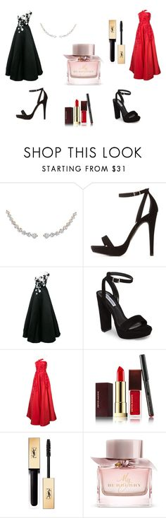 """""""Prom Outfits"""" by aakankshagarg on Polyvore featuring Charlotte Russe, Marchesa, Steve Madden, Oscar de la Renta, Kevyn Aucoin, Yves Saint Laurent and Burberry"""