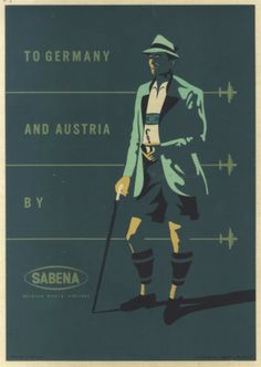 To Germany and Austria by Sabena, 1950s