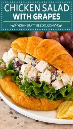 This chicken salad with grapes is a blend of chicken, fresh veggies, pecans and fruit, all tossed together in a creamy dressing. A quick and easy meal option that's great when served as a sandwich, with a side of crackers or in lettuce cups. Gourmet Chicken, Easy Chicken Dinner Recipes, Grilled Chicken Recipes, Easy Appetizer Recipes, Easy Recipes, Appetizers, Best Lunch Recipes, Side Salad Recipes, Duck Recipes