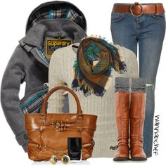 """Superdry Sweater and Coat"" by wannabchef on Polyvore"