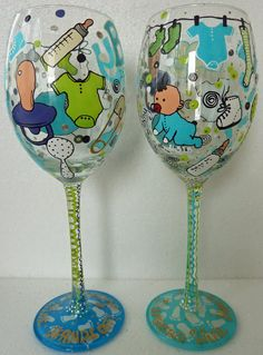 Hand painted Baby Christening Wine Goblet glasses by AlenaShop, $23.99    Great gift to give to MOM-2-BE or possibly shower favors