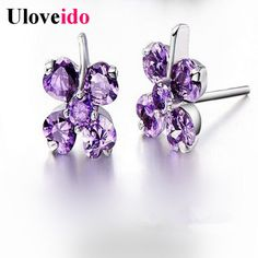 Find More Stud Earrings Information about Luck Clover Stud Earrings for Women Flowers Purple 925 Silver Jewelry Bijouterie Crystal Earring Brincos Wholesale Uloveido E089,High Quality earrings tribal,China earring cz Suppliers, Cheap earring organizer from Uloveido Official Store on Aliexpress.com