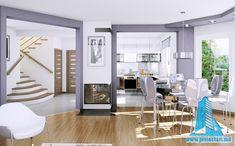 Проект жилого дома с мансардой и гаражом   Proiectari si Constructii Dining Table, Furniture, Home Decor, Behance, Exterior, Living Room, House, Floor Layout, Automobile