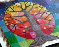 A Tree Grows (and a paper crane update). Art Tutorial - Mixed Media Painting - Oil Pastel, Watercolor and Acrylic - step by step - great pics! Patchwork Quilting, Arte Country, Quilt Modernen, Ecole Art, Tree Quilt, Middle School Art, Art Classroom, Elementary Art, Teaching Art