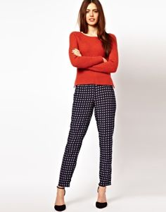 ASOS Trousers in Geo Print With Elastic Waistband