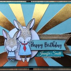 Happy Birthday Card: Feb Stamp of the Month Easter Bunny  #ctmh #ctmhfundamentals #ctmhsotm #cutebunnies